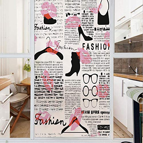(Decorative Window Film,No Glue Frosted Privacy Film,Stained Glass Door Film,Fashion Elements Kisses Lipstick Glasses Shoes Hangers Decorative,for Home & Office,23.6In. by 47.2In Scarlet Baby Pink Blac)