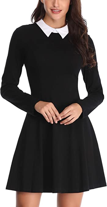 Womens Peter Pan Collar Long Sleeve Casual Halloween Dress