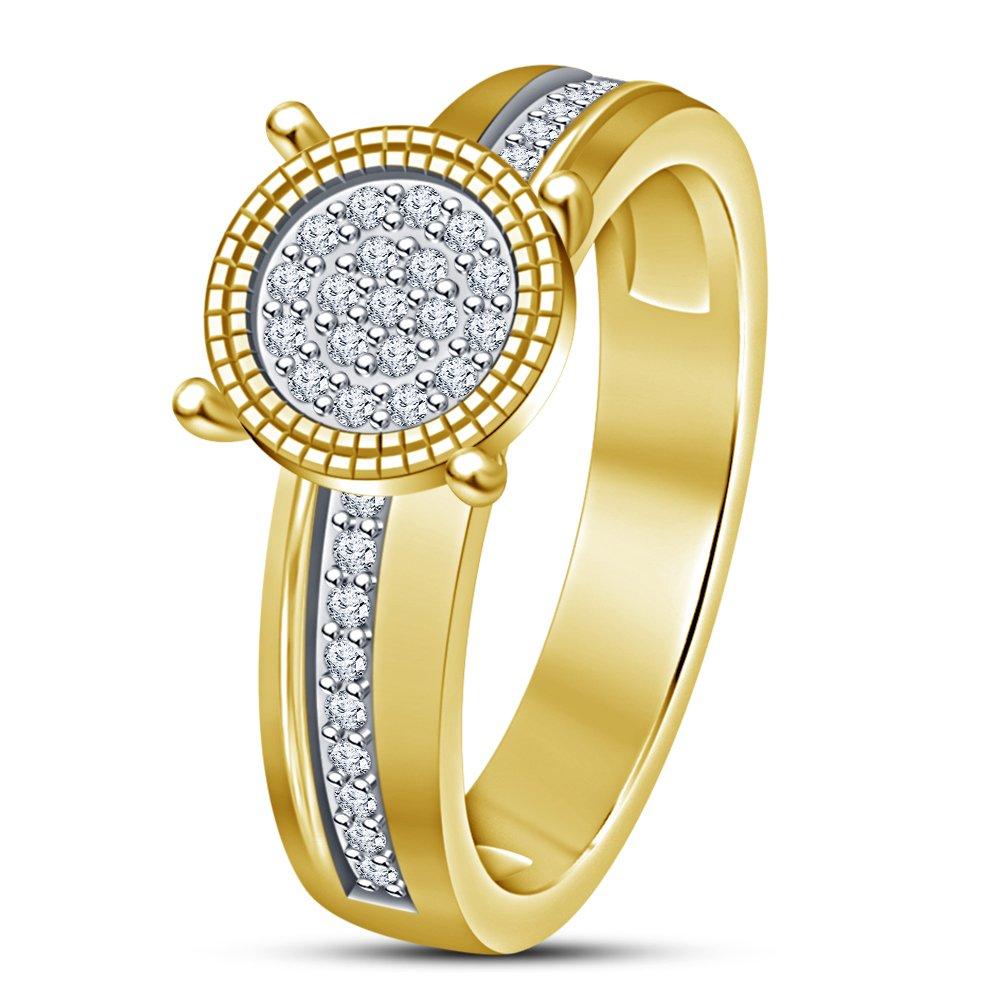 Vorra Fashion Damen Mit Jahrestag-Ring, Sterling-Silber 925 Sterling-Silber Jahrestag-Ring, mit 14 Karat Gold 270987