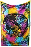 Amitus Exports TM Premium Quality 1 X Tiger Dragon 79''x53''(Approx.) Inches Tie Dye Multi Color Twin Size Cotton Fabric Tapestry Hippy Indian Mandala Throws (Handmade In India)