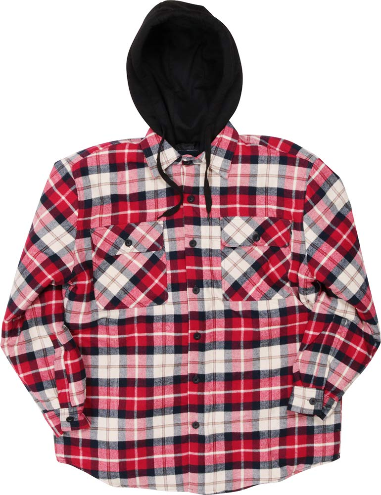 Woodland Supply Co. Men's Quilted Lined Flannel Plaid Check Hooded Long Sleeve Button-Down Shirt Jacket,X-Large,Red