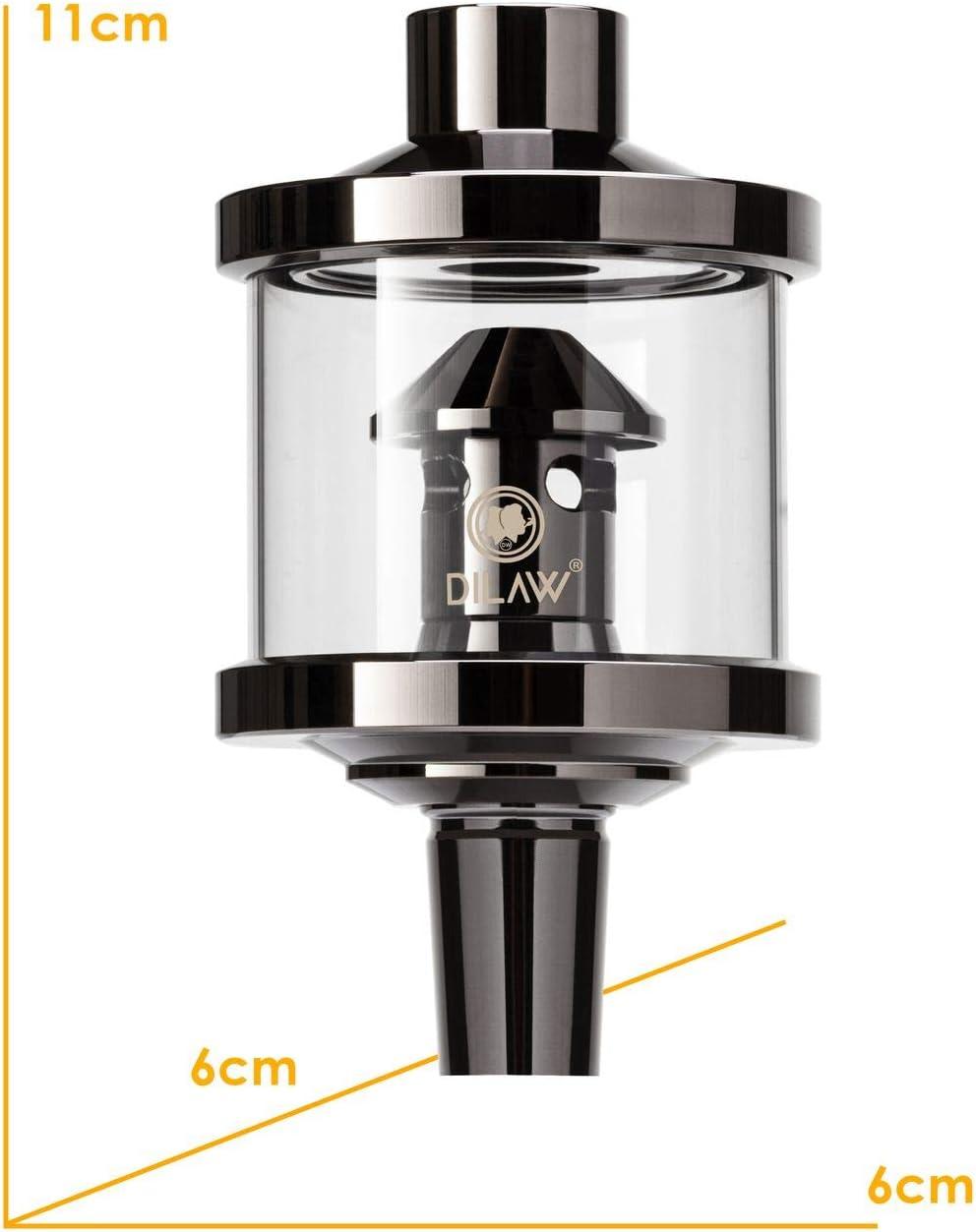 Schliff 18//8 Zubeh/ör Farbe Black Vork/ühler-Aufsatz f/ür DILAW/® Shisha DX1 Carbon Molassef/änger Edelstahl Wasserpfeife