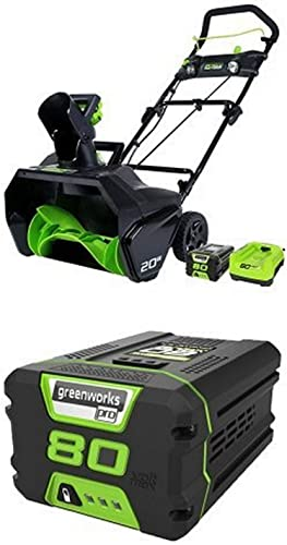 GreenWorks Pro 80V 20-Inch Cordless Snow Thrower, 2Ah Battery Charger Included with extra 80V 2.0AH Lithium Ion Battery