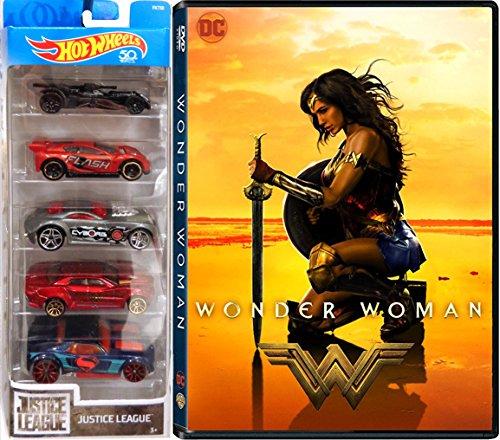 Justice League Hot Wheels DC Wonder Woman DVD Movie & Car Pack Wonder Woman / Batman / Superman / The Flash / Cyborg / Aquaman