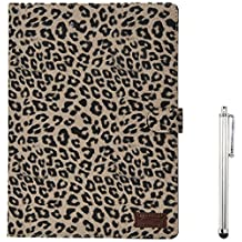 Apexel Leopard Pattern PU Leather Flip Case Cover with Card Slots Holder for iPad Air 2 2014 Grey with Touch Pen