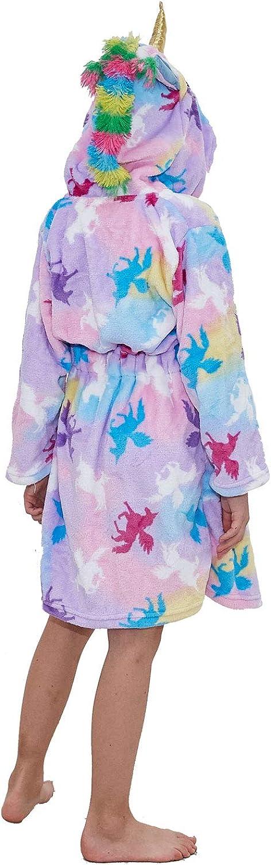 TopColor Peignoir Enfant Robe de Licorne Unisexe Flanelle Chemise de Nuit /à Capuche