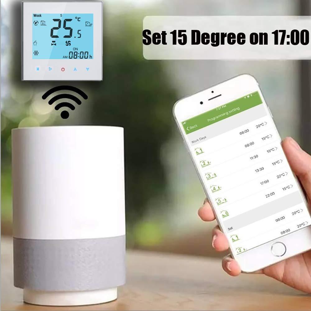 Arxus WiFi Steuerung LCD Touchscreen programmierbare Raumthermostat f/¨/¹r zentrale Klimaanlage//Heizung WiFi Thermostat