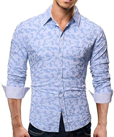 Hombre Camisa Manga Larga ImpresióN Shirts Slim Fit Camisa Hombre Manga Larga Camisas Formales Negocios Camisa de Vestir Hombre de AlgodóN Regular Fit Talla Grande: Amazon.es: Ropa y accesorios