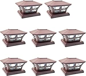 iGlow 8 Pack Brown Outdoor Garden 6 x 6 Solar SMD LED Post Deck Cap Square Fence Light Landscape Lamp PVC Vinyl Wood