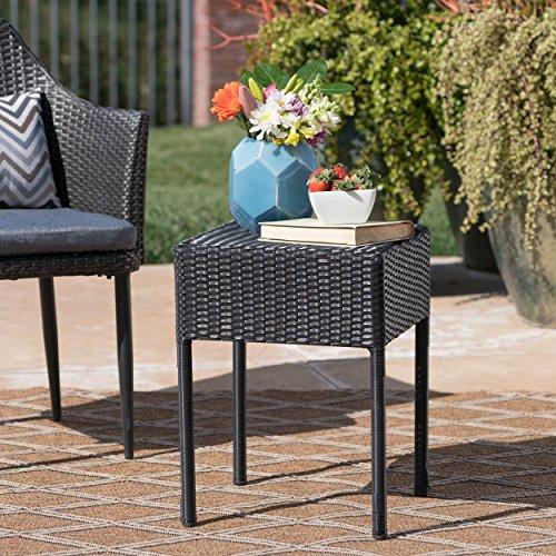 Edgar Outdoor Black Wicker Side Table For Sale