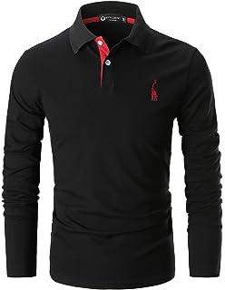 82d692ff8646e STTLZMC Men s Casual Polo Shirts Long Sleeve Slim Fit Fashion T-Shirts