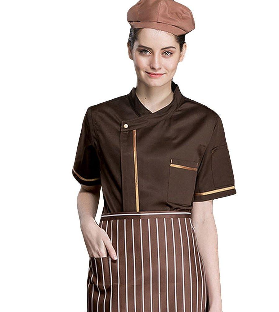 Dooxii Unisex Donna Uomo Estate Manica Corta Giacca da Chef Moda Ristorante  Occidentale Cucina Mensa Hotel Traspirante Uniformi Divise da Cuoco 7da37681f91c