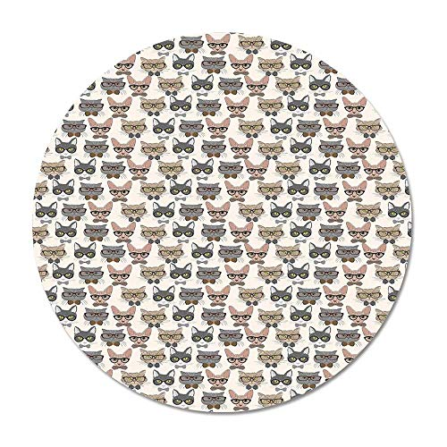 Cat Round Door Mat 23.6 Inches,Hipster Nerd Characters with Vintage Sunglasses Intelligent Feline Serious Expressions for Living Room Bedroom,23.6''Round