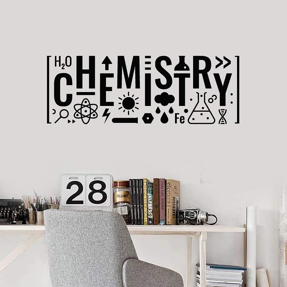 Calcomanía de pared para ciencia Habitación adolescente Decoración Etiqueta de la pared Letras Químico Vinilo Decoración del hogar Arte Mural 57x149cm