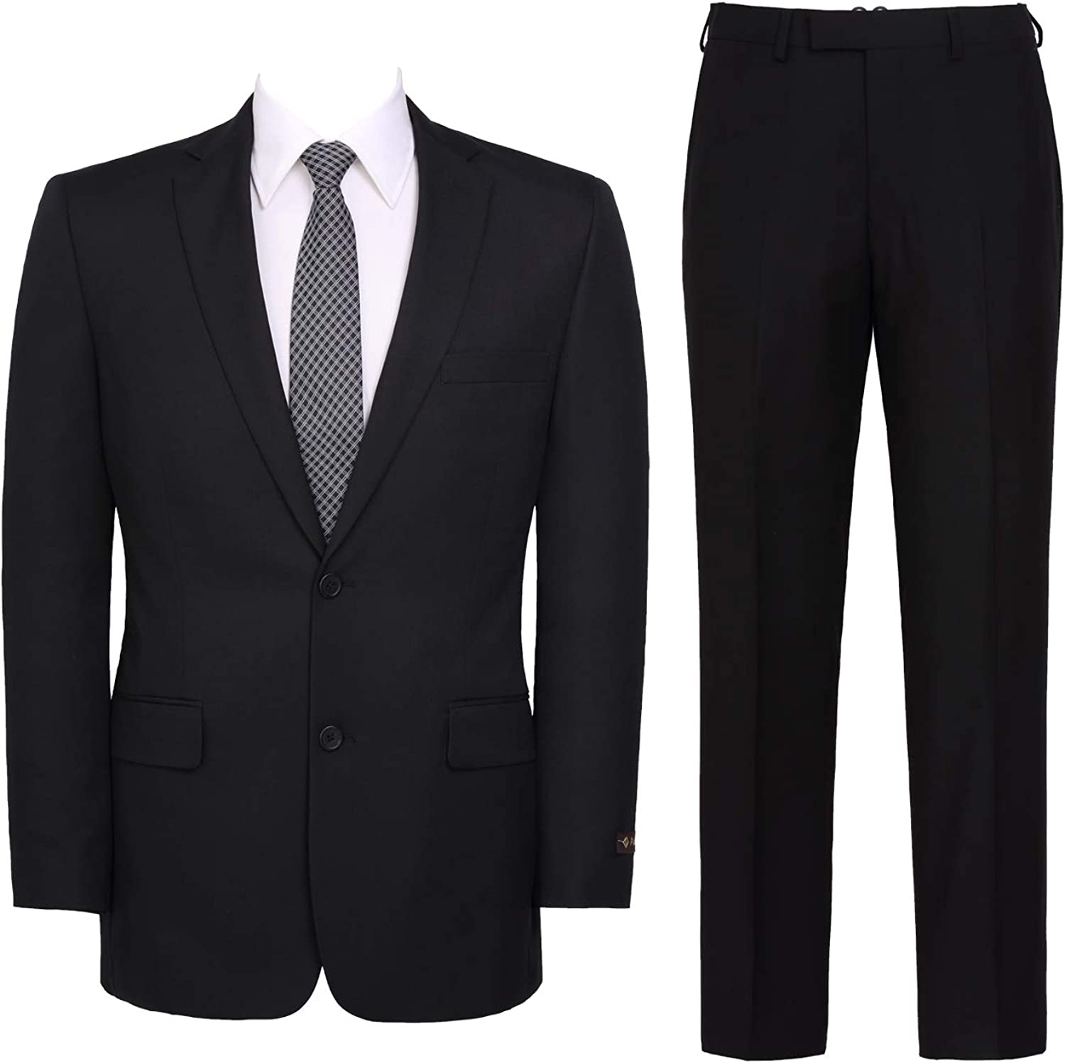 Mens Suit 2-Piece Classic Fit Solid Color Single Breasted 2 Buttons Jacket Dress Pants