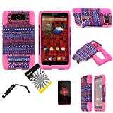 For Motorola DROID Ultra XT1080 MAXX XT1080M ITUFFY(TM) 3items Combo: LCD Screen Protector Film + Stylus Pen + Dual Layer Impact Resistance Hybrid Armor Case Built-In Kickstand (Purple Tribal Aztec)