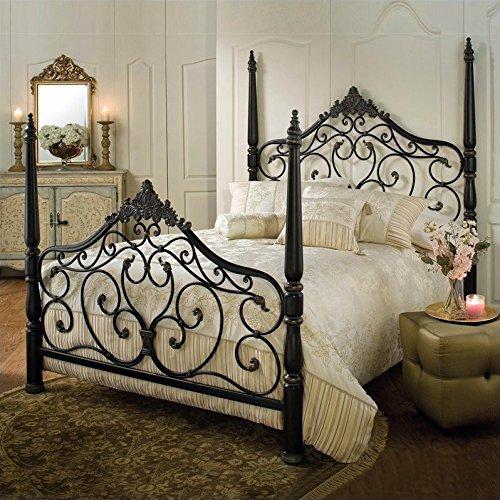 - Hillsdale Furniture 1450BKR Parkwood King Bed Set with Rails, Black Gold Finish