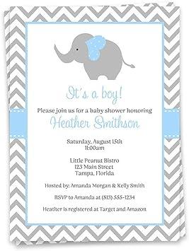 Blue Elephants Personalised Baby Shower Invitations