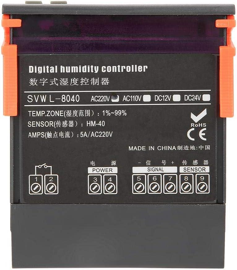 Luftfeuchtigkeitsregler 220 V Digitaler Luftfeuchtigkeitsregler WH8040 Bereich 1/% 99/% RH Typ HM-40 Sensor