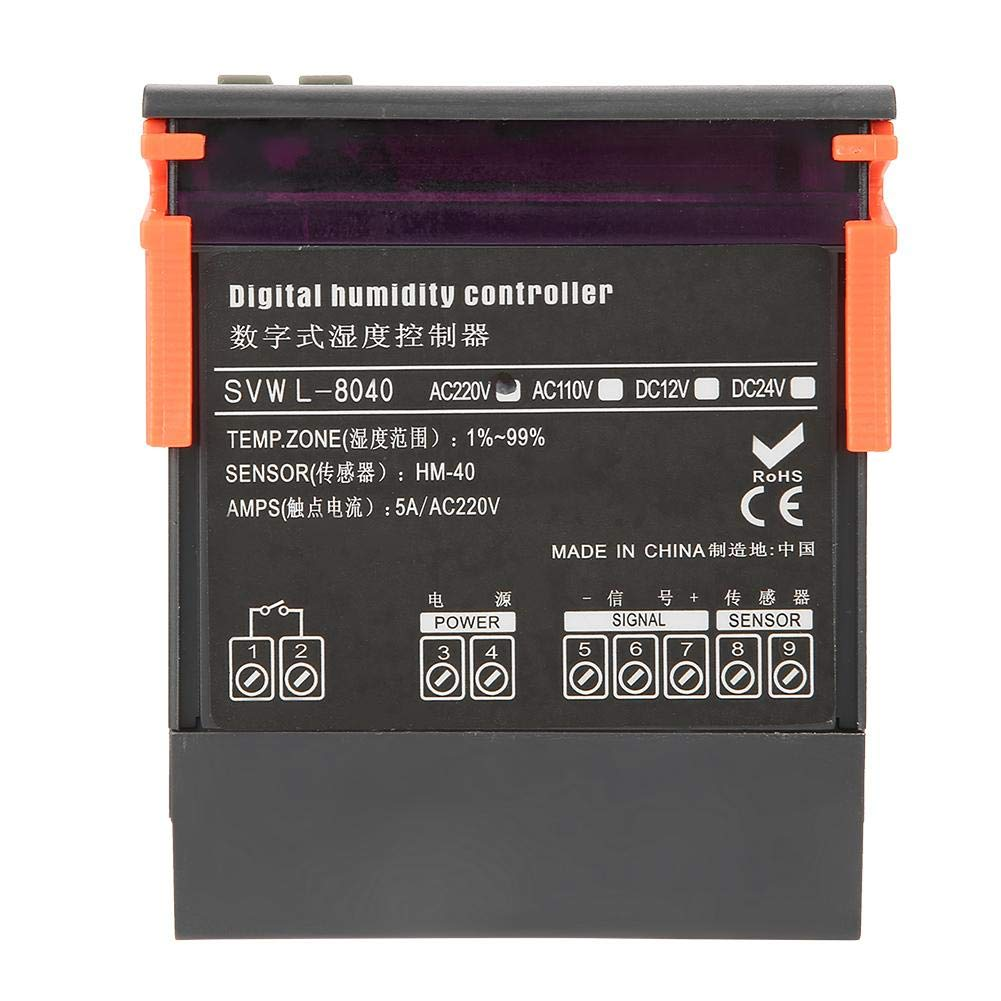 Impermeable y a Prueba de Polvo Controlador de Humedad del Aire 99/% HR Tipo de Sensor HM-40 220V LED Controlador de Control de Humedad del Aire Digital SVWL-8040 Rango 1/%