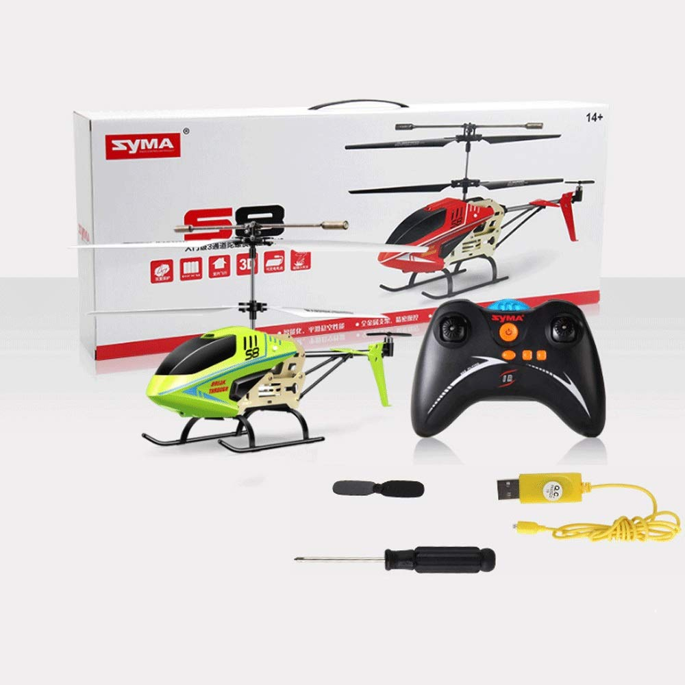 Zenghh Remote Control Helicopter Drone Toy Multiplayer Game Alloy Frame Charging and LED Lights Children Boy Remote Control Aircraft Indoor Outdoor Anti-roll Rocker Model Gyro Mini Preferred Gift
