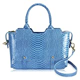 Hynes Victory Luxe Crocodile Satchel Handbag Cerulean