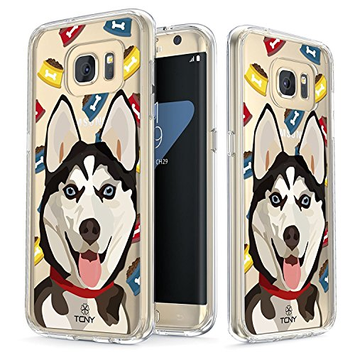 Samsung Galaxy S7 Edge Case - True Color Clear-Shield Siberian Husky Dog My Lovely Pet Collection Printed on Clear Back - Soft and Hard Thin Shock Absorbing Dustproof Full Protection Bumper (Huskies Cell Phone Case)