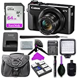 Canon PowerShot G7 X Mark II Digital Camera with 64GB SD Memory Card + Mini Stable Tripod and Grip + LED Video Light Accessory Bundle