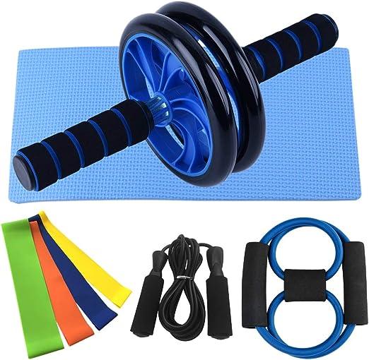 Nishore Rueda Abdominales Fitness, AB Roller Wheel Abdominal, con Banda de Resistencia de 8 Formas Banda de Lazo Kit de Paquete de Cuerda de Salto, Gimnasio en Casa Conjunto de Ejercicios: Amazon.es: