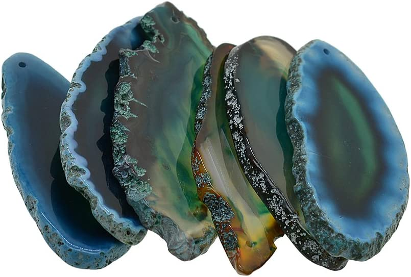 Hellery 6 Piezas De Hermosa ágata De Geoda Irregular Rebanadas Colgante para Joyería Que Hace Encantos - Verde, Individual
