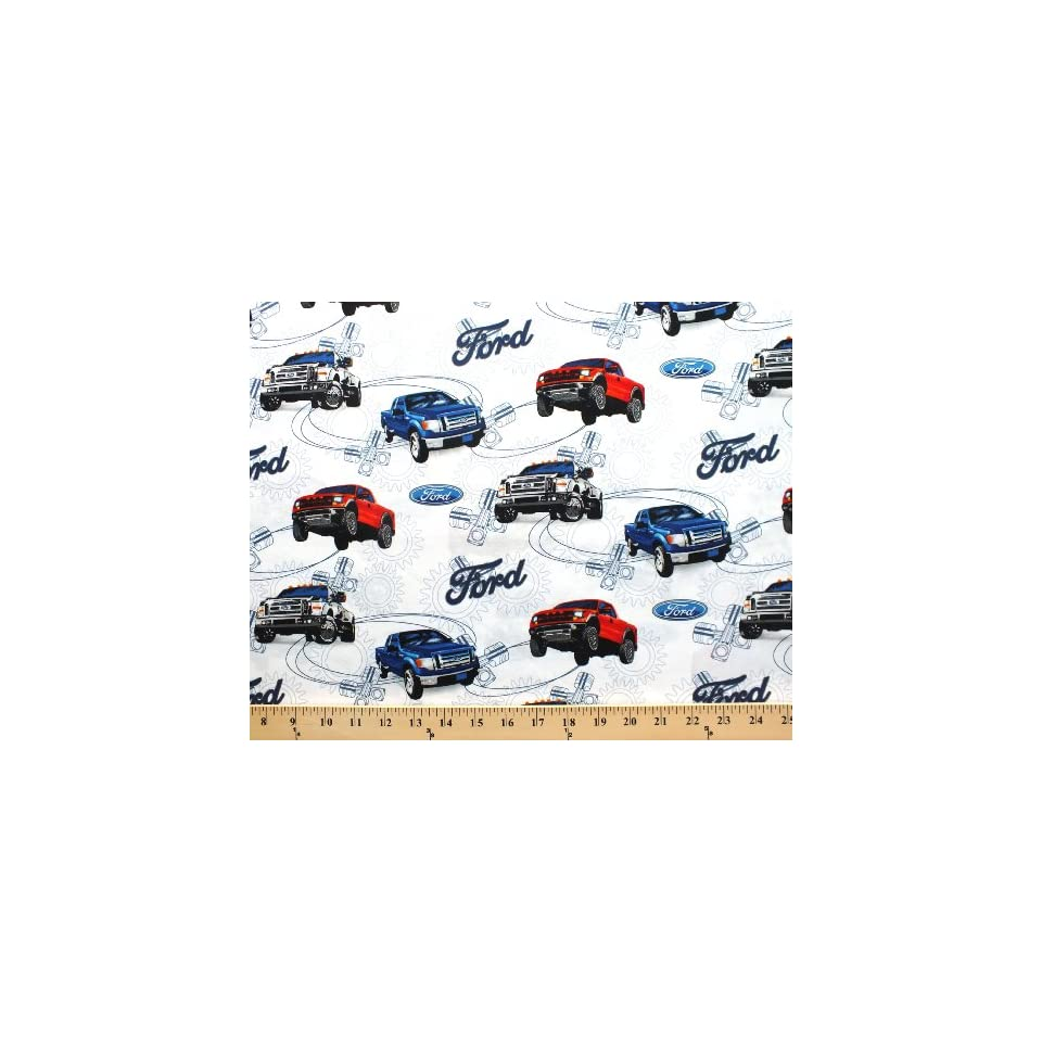Ford Motor Company Fords Truck Trucks on White Cotton Fabric Print by the yard (1101 01)