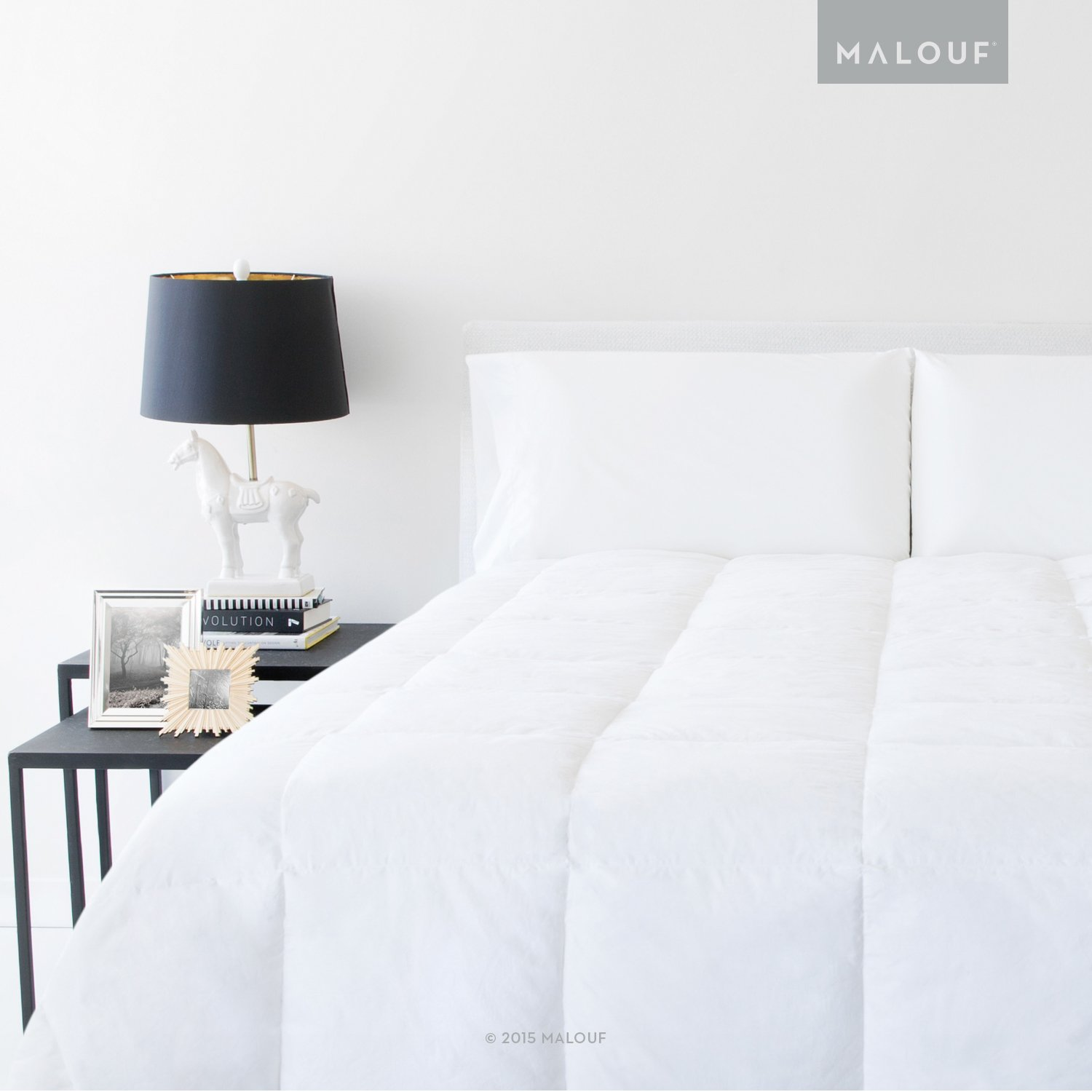 MALOUF Woven White Down and Feather Blend Comforter-Oversized King