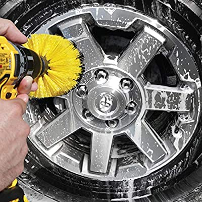 Wheel Brush Kit for Tire and Rim Cleaning | 4 pc Drill Brush Car Detailing Attachment Set | Auto Detail and Scrub Brushes | Car Wash Supplies for Cleaner Cars, RVs, Tires, Rims, Wheels, and Vehicles: Automotive