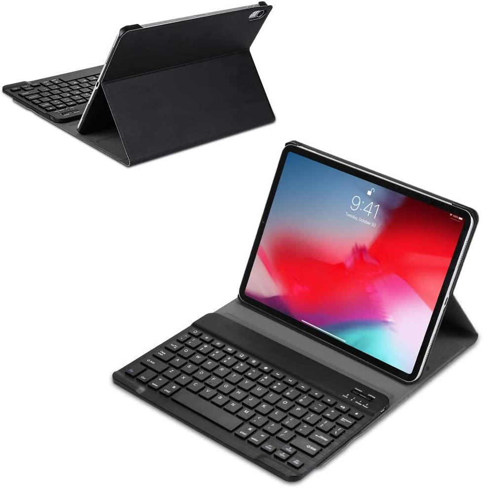 with Holder CellphoneMall Keyboard A11 Bluetooth 3.0 Ultra-Thin ABS Detachable Bluetooth Keyboard Leather Case for iPad Pro 11 inch (2018) Black Color : Black