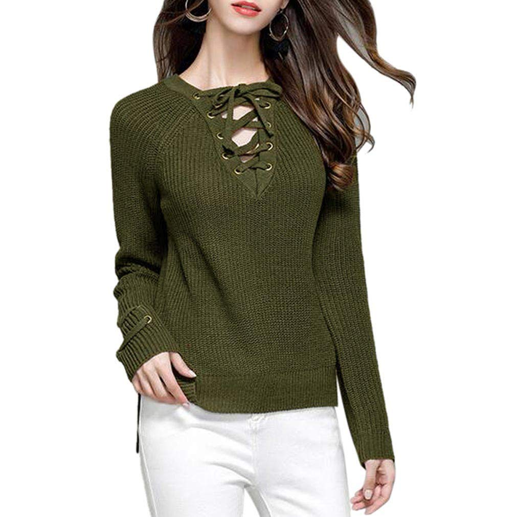 Qixuan Women's Lace Up Front V Neck Long Sleeve Sweater Knitwear Pullover ZH2807S0007