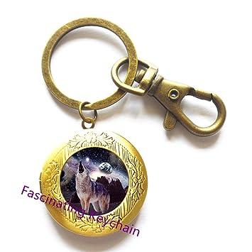 Wolf joyas aniversario regalo lobo medallón llavero animales ...