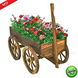 Wooden Wagon Cart Garden Flower Planter Outdoor Decor Cart Yard Wheel Barrel Pot Stand Antique Look Sturdy And Durable & eBook by BADA shop