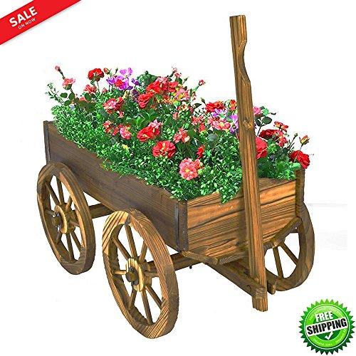 Wooden Wagon Cart Garden Flower Planter Outdoor Decor Cart Yard Wheel Barrel Pot Stand Antique Look Sturdy And Durable & eBook by BADA shop by BS
