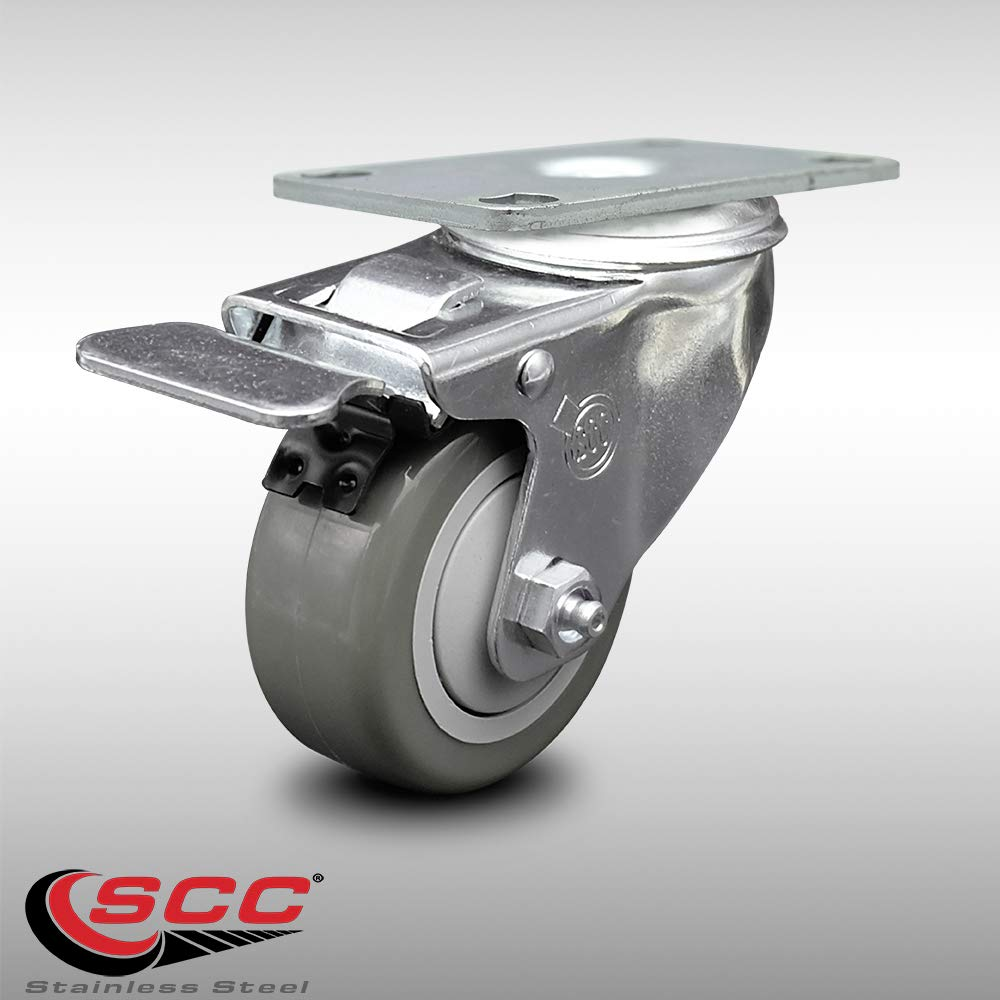 Service Caster - 3.5'' Non-Marking Gray Polyurethane Wheel - Stainless Steel Swivel Caster w/Total Lock Brake - 250 lbs. Capacity