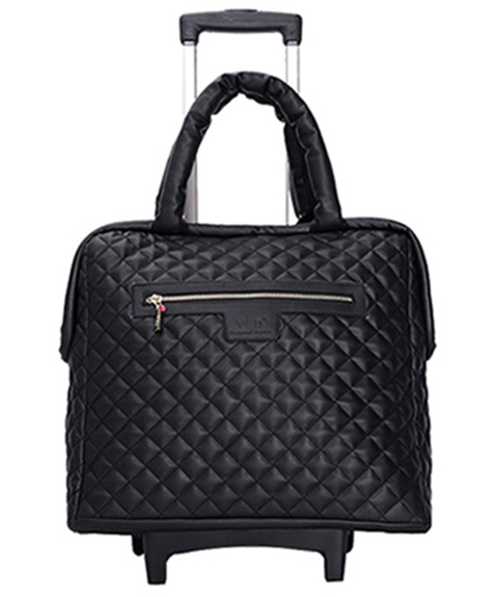 18 inch Fashion Wheeled Rolling Tote Garment Bag suitcase Luggage Spinner Mobile Office for women girls 3 colors (Black)