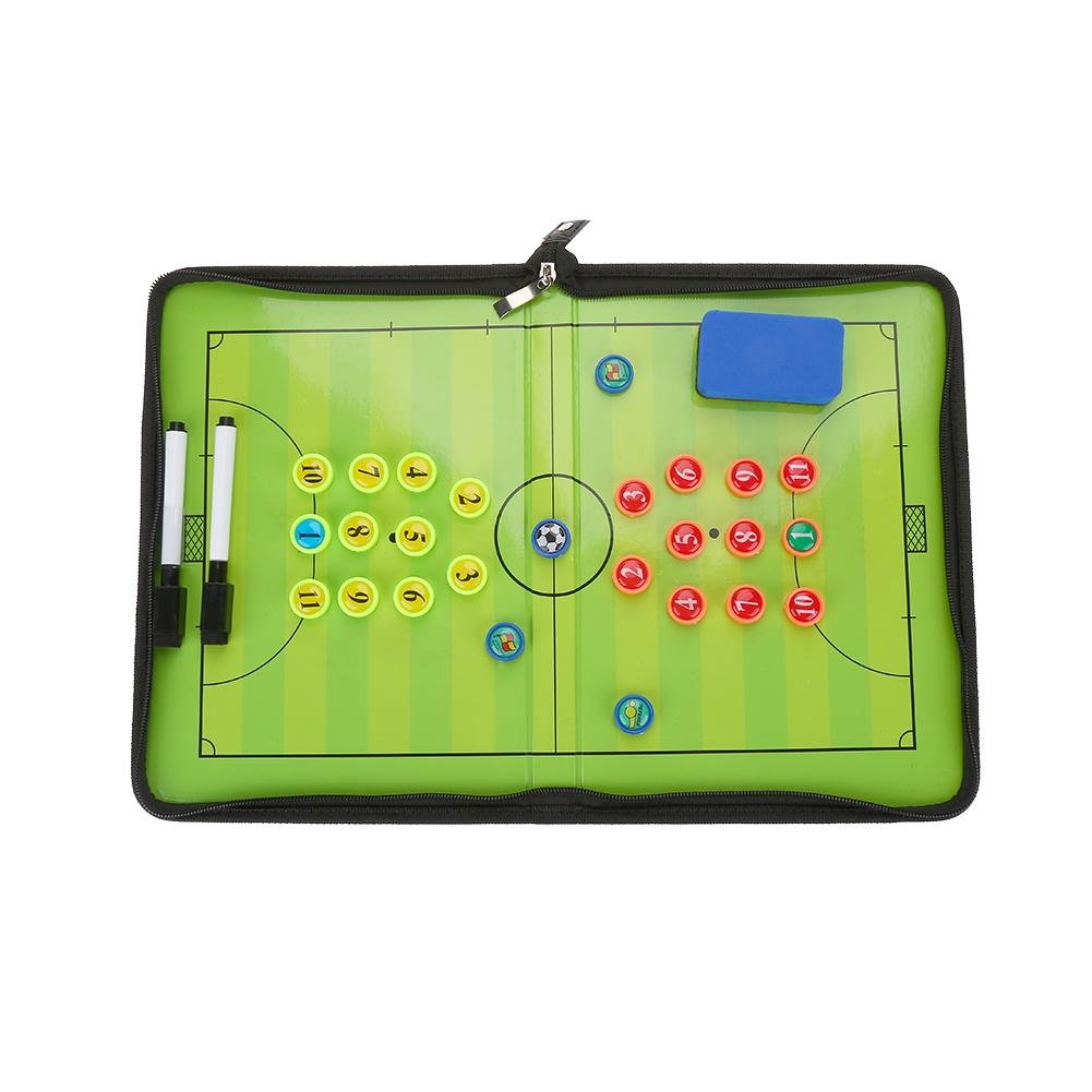 Magentic Foldable Soccer Coach Board Wear-Resistant Portable Football Strategy Teaching Board Training Competition Equipment with Pen Eraser Magents Yosoo®
