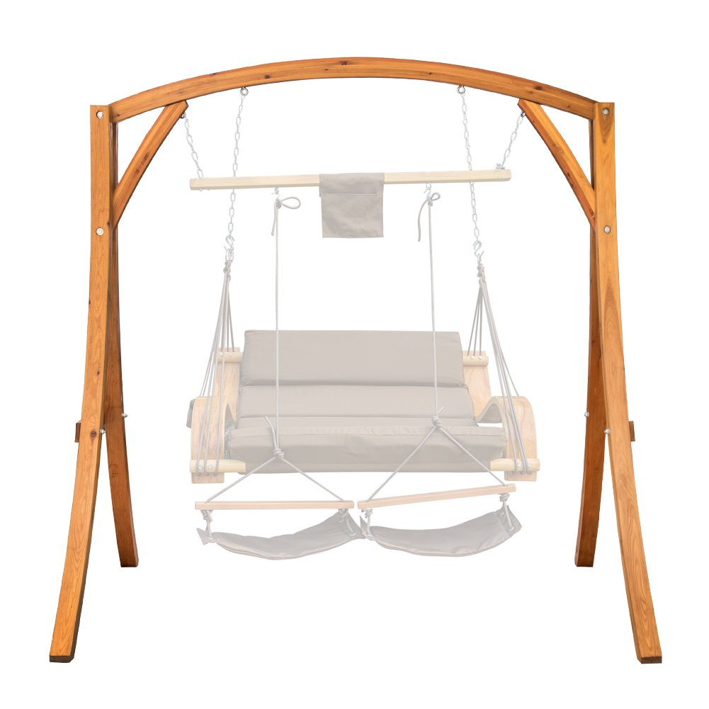 Lazy Daze Hammocks Deluxe Wooden Arc Frame Hammock Swing Chair Stand Heavy Duty Russian Pine Hardwood, Weight Capacity 450 lbs