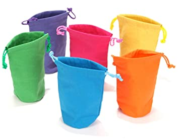 Amazon.com: Dozen Bright Color Canvas Drawstring Bags: Sports ...
