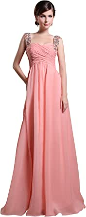 Dlass Beaded Straps Sweetheart Long Chiffon Prom Dresses