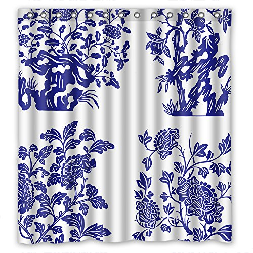 Dries Quickly Polyester Shower Curtain, Chinese Style Blue And White Porcelain, Size Width X Height / 66 X 72 Inches / W H 168 By 180 Cm Modern Design, Best Fit For Decorative