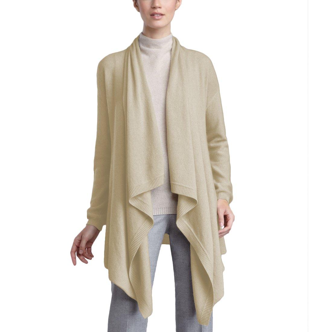 Parisbonbon Women's 100% Cashmere Shawl Collar Cardigan Color Beige Size XS by Parisbonbon