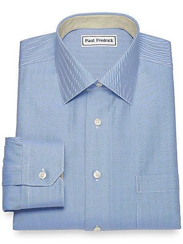 Paul Fredrick Men's Non-Iron Cotton Herringbone Dress Shirt French Blue 19.0/37