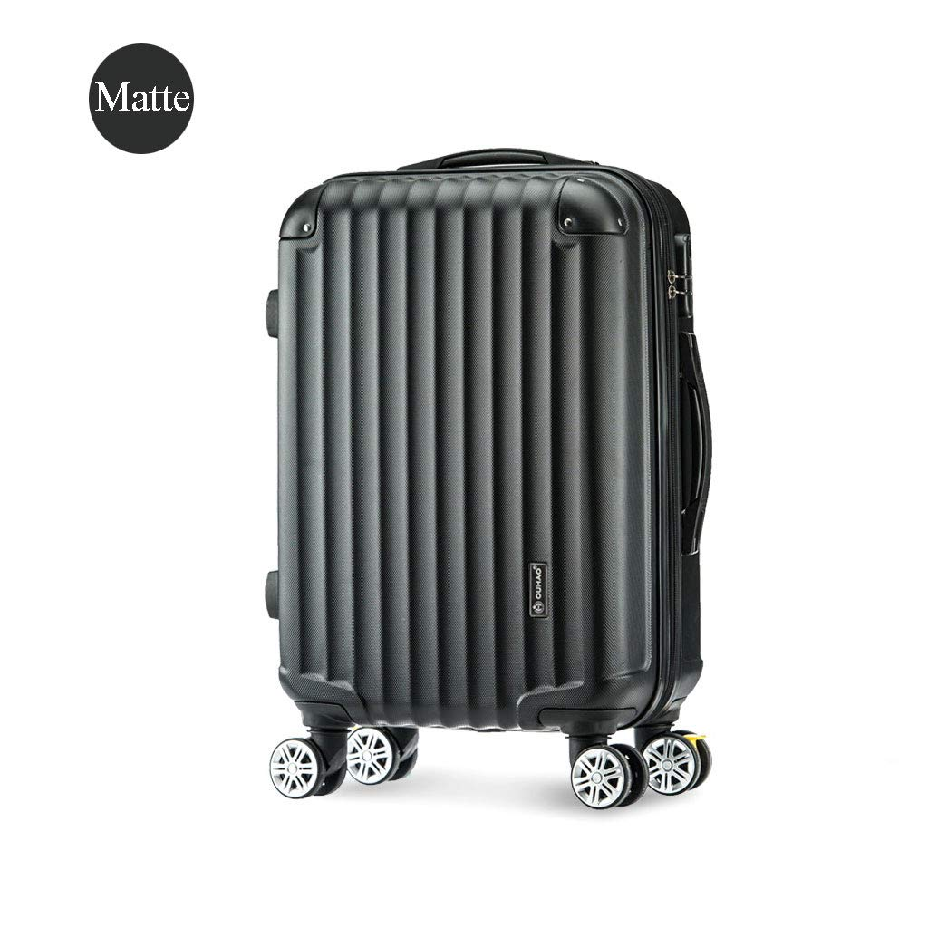 55 Cm Absハードシェル手キャビン荷物スーツケースを運ぶ、旅行キャビン手荷物スーツケースをキャリー4車輪(3色) B07MSJL69J Black