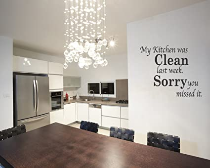 Amazon.com: My Kitchen Was Clean Funny Dining Room Quote Wall Art ...