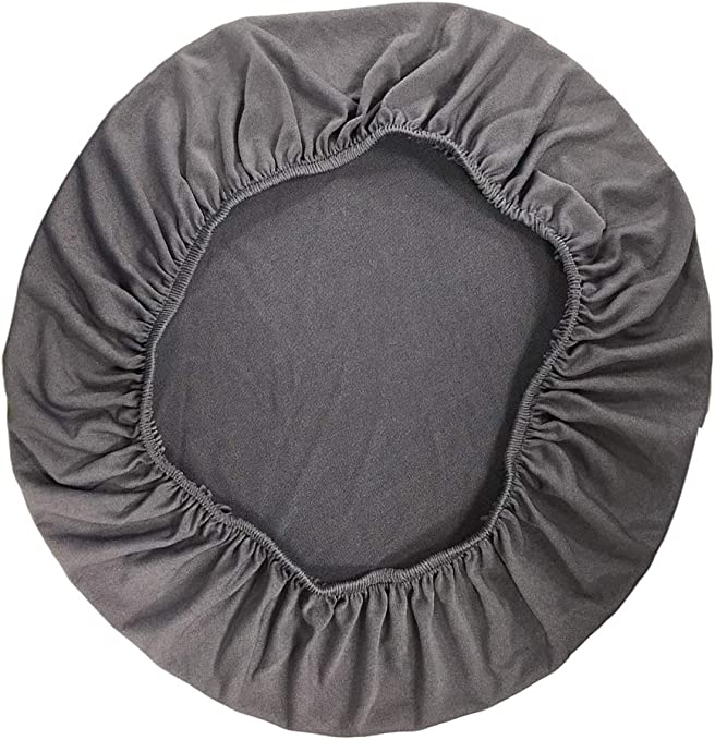 Fityle Removable Stretchable Dining Chair Seat Cover Wedding Banquet Party Home Reception Decorations 35-50cm (13.8-20'') Diameter - Grey
